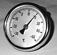 Rosy - analogowe - zakres pomiaru -30 do + 50 ° C - tolerancja +/- 2 ° C - magn