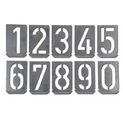 Signierschablonen-Satz - Zink-Blech - Zahlen 0 bis 9 - Größe 100 bis 300 mm - Preis per Set