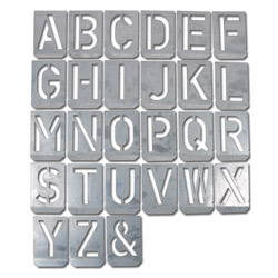 Template - Signed Set A to Z - Zinc Plate - 20 mm To 300 mm