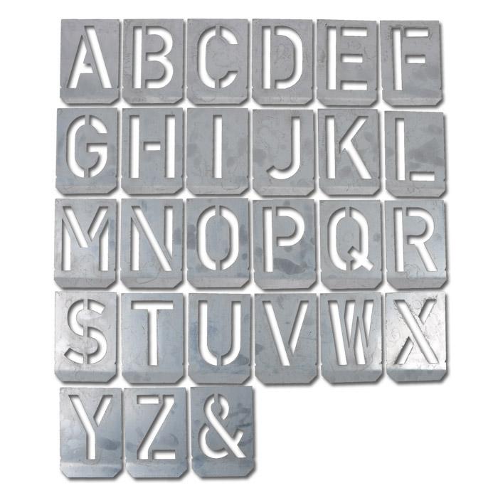 """Signierschablonen-Satz - Großbuchstaben """"A - Z"""" - Zink-Blech - Größe 100 bis 300 mm - Preis per Set"""