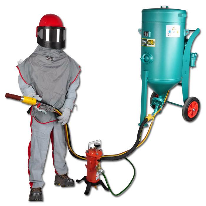 Strahlsysteme - komplett betriebsbereit -  pneumatische Fernbedienung - für 50 bis 200 liter