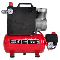 Kolbenkompressor Silverstone 2 - 60l/min - bis 8 bar - tragbar - 12V/24V - 0,37KW - ölfrei
