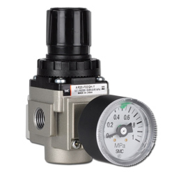 SMC standard pressure regulator- 8.5 bar - with round pressure gauge- lockable