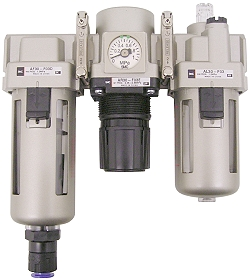 SMC Filter Regulator - 8.5 Bar 5 μm + Drop Oiler And Automatic Condensate D