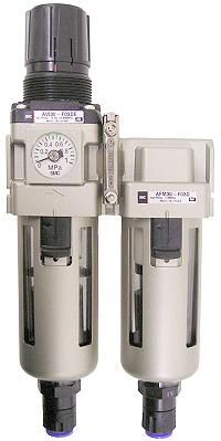 Régulateur à filtre SMC - 8,5bar 3µm + huileur à goutte - évacuation automatique