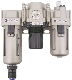 SMC Filter Regulator - 8.5 bar 5μm + Drop Oiler Automatic Drain