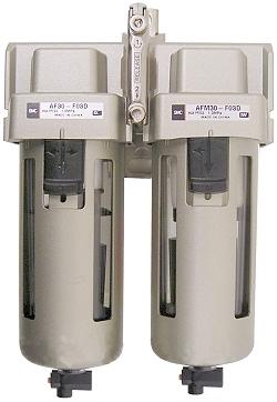 Filtre fin SMC de  5µm + microfiltre  0.3µm - jusque 10bar - jusque  1080l/min -