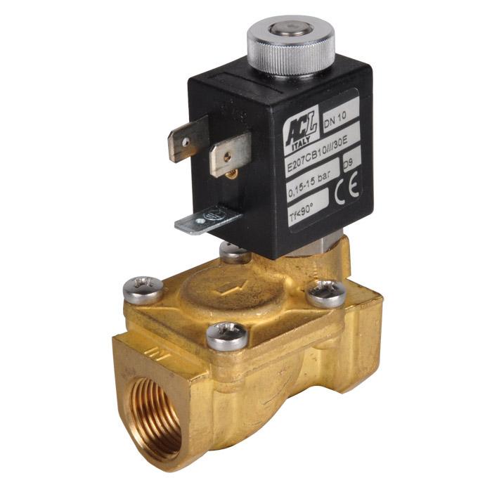 """Électrovanne 2/2 - normalement ouverte - pour air comprimé, eau et huile - 15 bar - G1/4"""" à G2"""""""