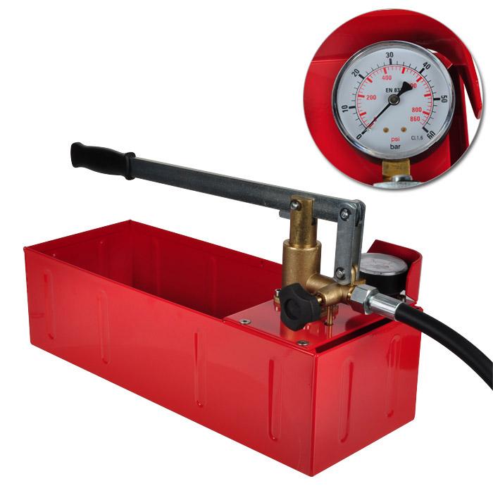 """Provtryckningspump """"Binda PT/B"""" - Anslutning 1/2"""" - till 40 bar - med manometer"""