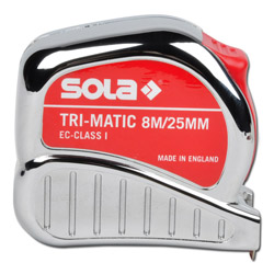 "Tape Measure ""Sola Tri"" - Automatic - Steel Band - Length 3-10 m"