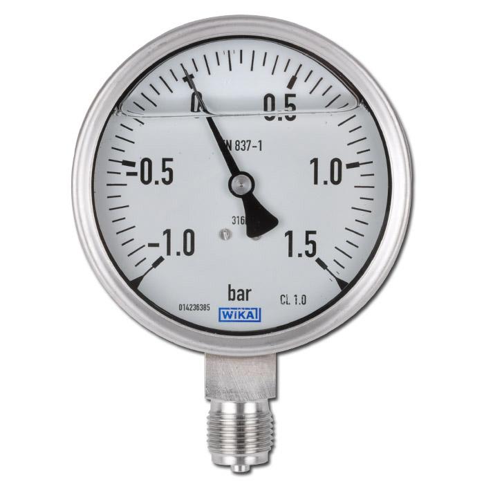 "Glycerin-Manometer - Klasse 1,0 - Ø 100 - von -1 bar bis 1000 bar - G 1/2"" B - senkrecht"