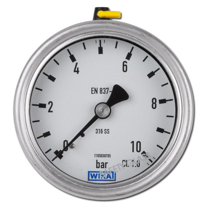 Manomètre Ø 63 ou 100 mm - classe 1,6 ou 1 - de -1 à 250 bar - horizontal - boîtier acier inoxydable
