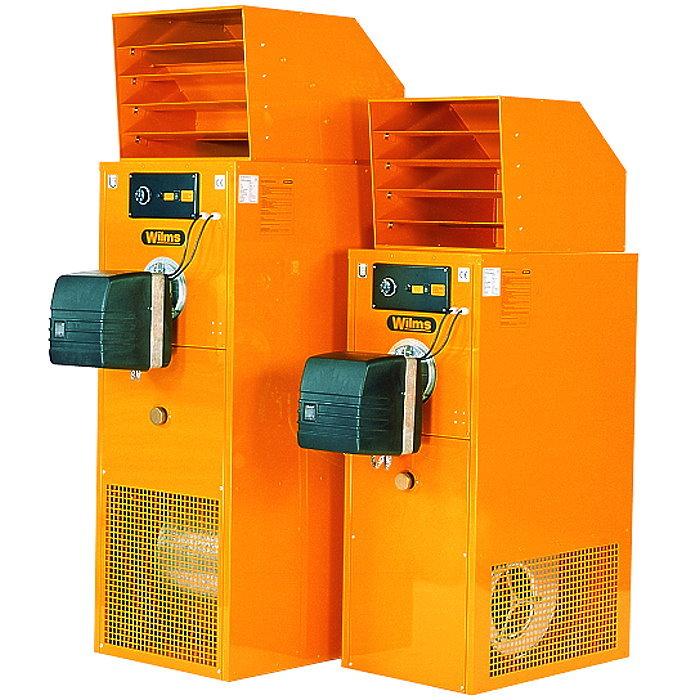 Varmluftsfläkt WLE - 35-75 kW - med avgasledning - stationär