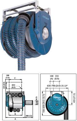 Abgas-Schlauchaufroller 865 - mit Federzug - Aschluss DN 160mm - ohne Schlauch