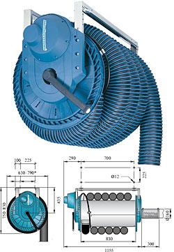 Abgas-Schlauchaufroller 865 - mit elektr. Motorantr. - Anschluss DN 160mm - ohne