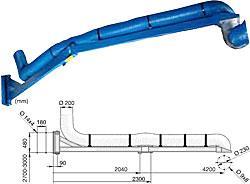 Schwenkarm - 4,2 m Länge - für Absaugarme