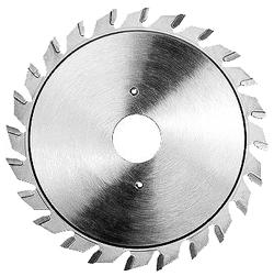Vorritz-Kreissägeblatt auf Formatanlagen für Plattenwerkstoffe 2-tlg