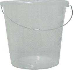 Seau ménager - transparent - anse métallique - gradué en litres