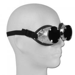 Restposten  - Korbbrille - mit Schlauchgummipolster - Farbe silber/schwarz - Glasgröße rund, 50 mm