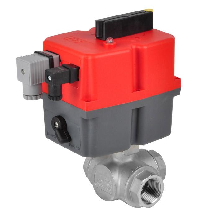 Kugelhahn 3-Wege - elektrischer Schwenkantrieb - L oder T-Bohrung - PN63