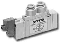 Solenoid valve - 5/3-way air - Ported SY7000 - Rubber seal - center position ope