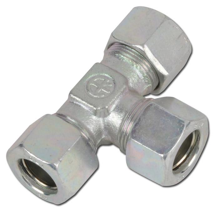 T-Verschraubung - Stahl - Ausführung LL - Schneidringverschraubung