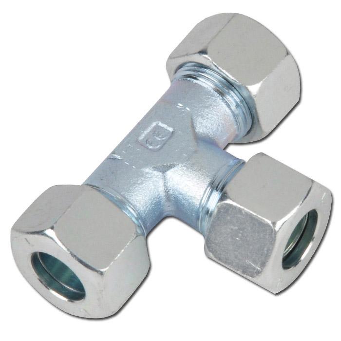 T-Verschraubung - Stahl - Ausführung L - Schneidringverschraubung