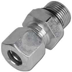Skruvkoppling med mjuk tätning - stål - lätt (L) - tum - rak