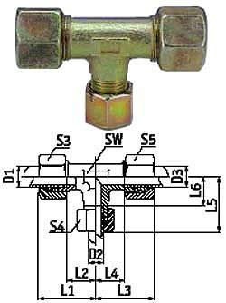 T-reducerskruvkoppling - stål - kraftig modell (S)