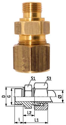 Klämringskoppling - rak - mässing - kraftig (S) - tum (BSP)