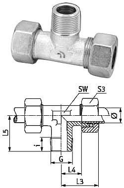 T-Einschraubverschraubung - VA - metrisch - für Rohrduchmesser 4 - 8 mm