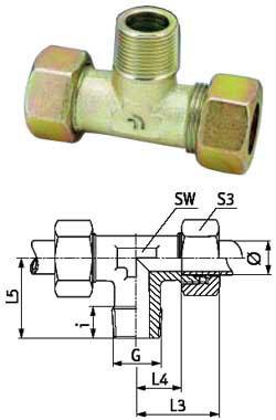 T-Einschraubverschraubung - Stahl - metrisch - Ausführung S - für Rohrduchmesser