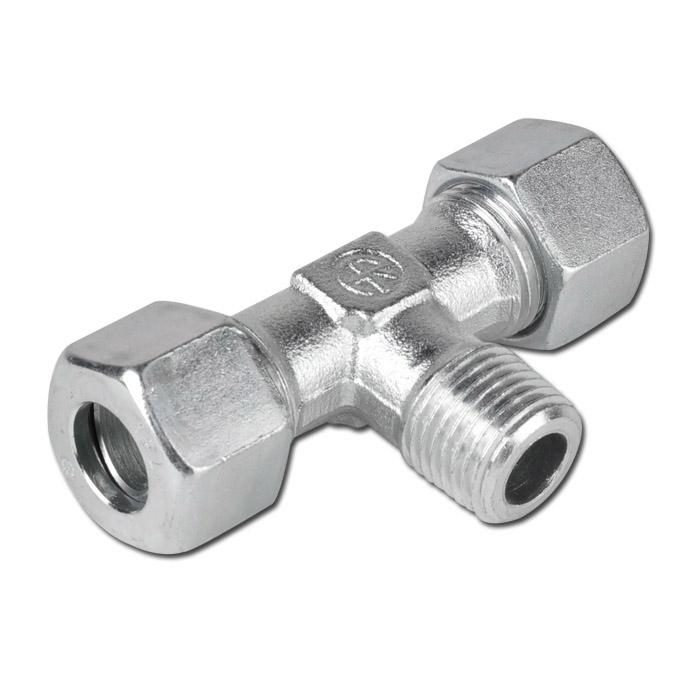 T-Einschraubverschraubung - Stahl - metrisch - für Rohrduchmesser 6 - 18 mm