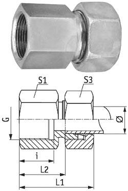 Skruvkoppling - rak - rostfritt stål - lätt modell (L) - metrisk