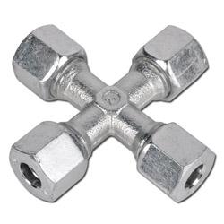 Kreuz-Verschraubung - Stahl - Ausführung LL - Schneidringverschraubung