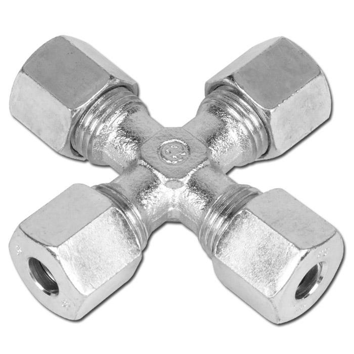 Skruvkoppling - kors - stål - kraftig modell (S)