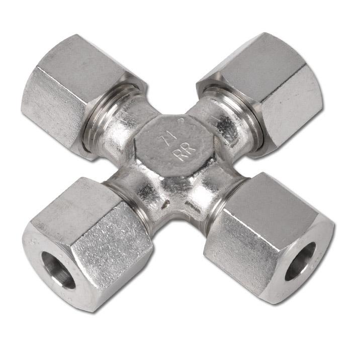 Skruvkoppling - kors - rostfritt stål - kraftig modell (S)