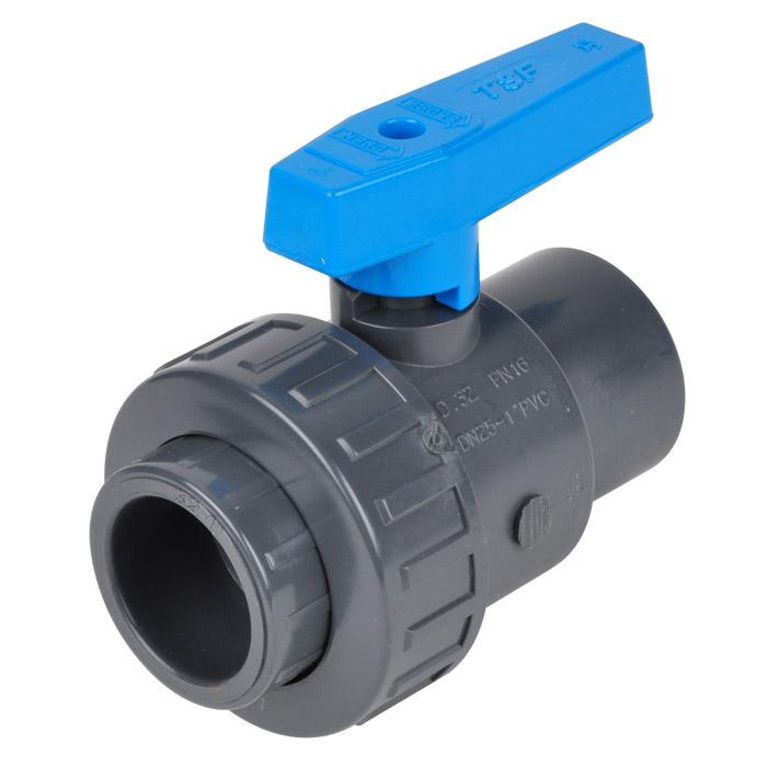 Einring-Klebemuffen-Kugelhahn PVC-U Wasserausf. - PN 16/10