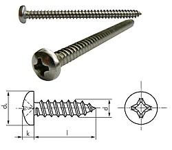 Linsen Blechschraube mit Kreuzschlitz - DIN 7981 C / ISO 7049