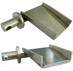 Discharge chute - for cutting fiberglass cutterbars - with glued spring steel