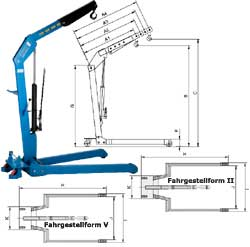 Verkstadskran HWK KLS Kapacitet 500-1000 kg hydrauliskt