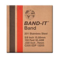 """Bande métallique - Band It 201 - acier inoxydable - épaisseur max. 0,76mm - largeur 1/4"""" à 3/4"""" - longueur 30,5m"""