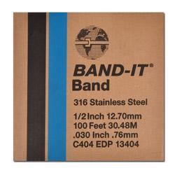 """Bande métallique - Band It 316 - acier inoxydable - épaisseur max. 0,76mm - largeur 3/8"""" à 3/4"""" - longueur 30,5m"""