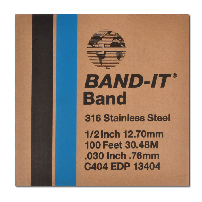 Band-It-316 Schellenband - Edelstahl 1.4401 - Breite 9,5 bis 19,1 mm - 30,5 m Rolle