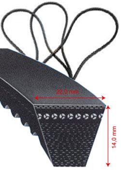 Klassisk kilrem - DIN 2215 - 22 x 14 mm