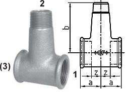 """T-Stueck für Verteilbatterien - Typ 137  90° - Gewinde 1 1/4"""" - 1 1/2"""" - Material Temperguss verzinkt"""