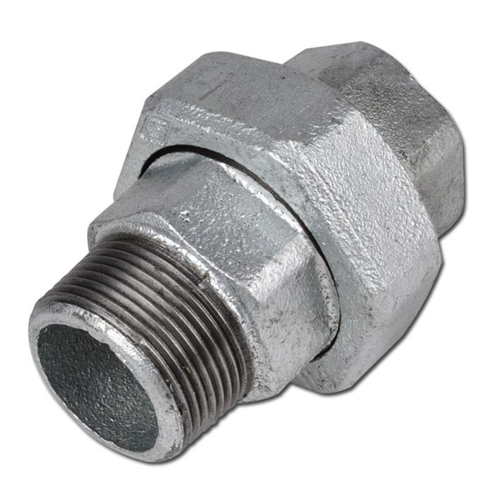 "Gerade Verschraubung - Typ 341 U12 - Gewinde 1/4"" bis 4"" - EN 10242 - kegelig dichtend - Material Temperguss schwarz oder verzinkt"