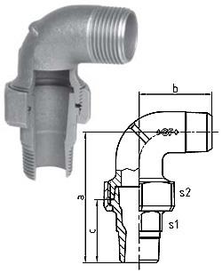 "Temperguss 90°  Winkelverschraubung  - Typ 103 - Gewinde  1/2"" bis 1"" - Material Temperguss schwarz oder verzinkt"