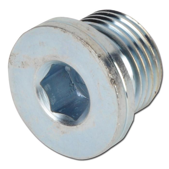 """Ändplugg - förzinkat stål - 1/8"""" till 1 1/2"""" - invändig 6-kant"""