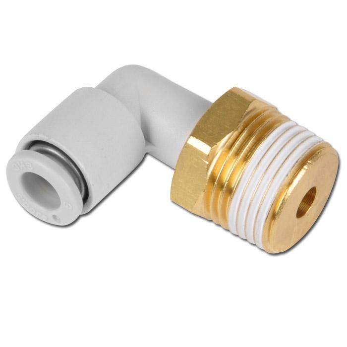 Instickkoppling - 90° - för 1 slang - utvändig gänga - utvändig 6-kant